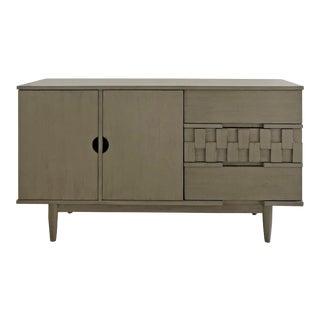Petite Brutalist Dry Brushed Grey Vintage Media Cabinet For Sale