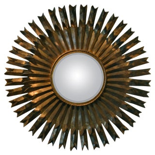 Monumental Italian Brutalist Sunburst Mirror For Sale