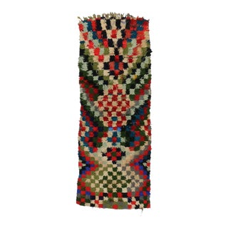 Mid-Century Modern Vintage Berber Moroccan Runner with Checkerboard Design For Sale