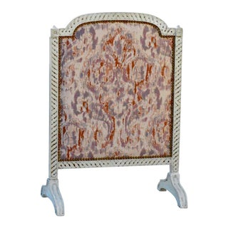 Painted Italian Firescreen in Donghia and Nailhead Trim