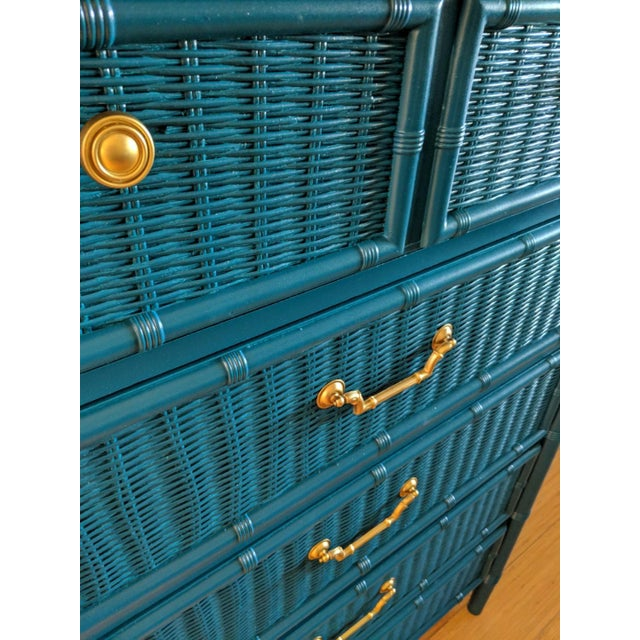 1970s 1970s Dixie Faux Bamboo Highboy For Sale - Image 5 of 8