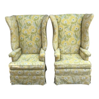 Mid-Century Yellow Floral Wingback Chairs - a Pair