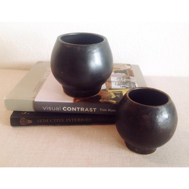 Boho Chic Modern Black Sphere Stoneware Vase/Planter For Sale - Image 4 of 8