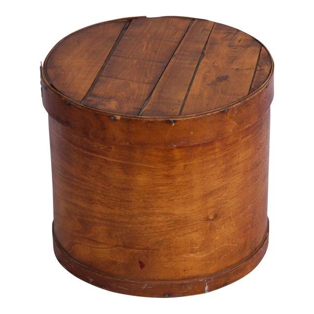 Vintage Rustic Round Wood Lidded Box - Image 1 of 11