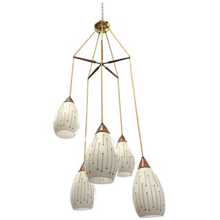 Mid-Century Modern Five-Pendant Light Fixture