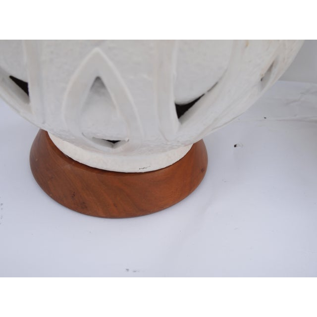 Pierced Mid-Century White Ceramic Lamps For Sale - Image 4 of 8