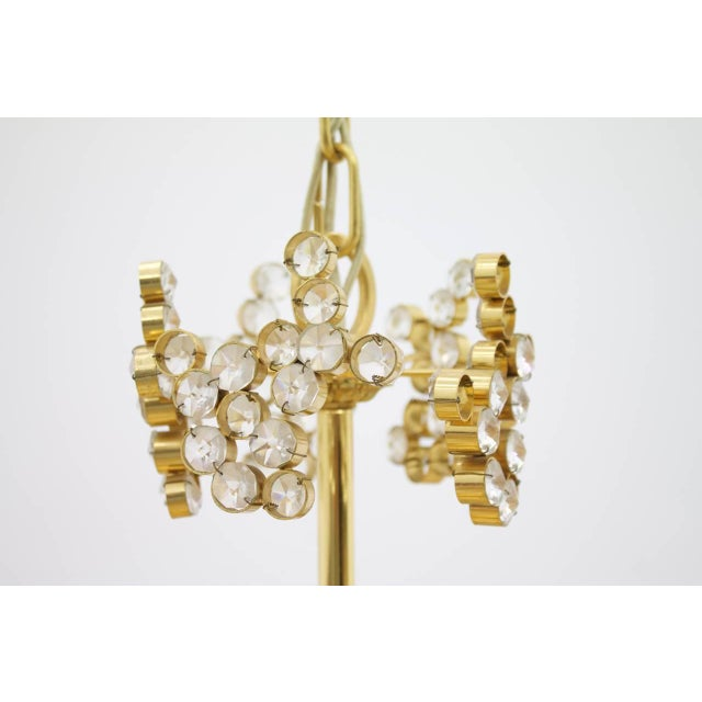 Large Gilded Brass and Crystal Glass Chandelier by Palwa, Germany 1960s For Sale - Image 9 of 11