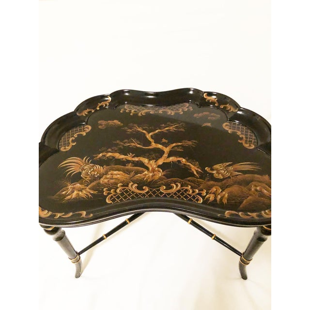 Asian Chinoiserie Karges Furniture Black Lacquer Side Tables - a Pair For Sale - Image 3 of 11