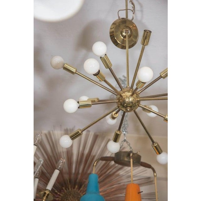 Mid 20th Century Mid-Century Atomic Sputnik Chandelier in Brass For Sale - Image 5 of 7
