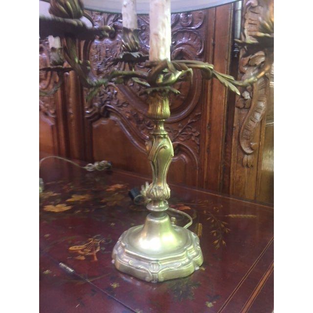 Gold Early 20th Century Antique French Bronze Candle Lamps - A Pair For Sale - Image 8 of 12