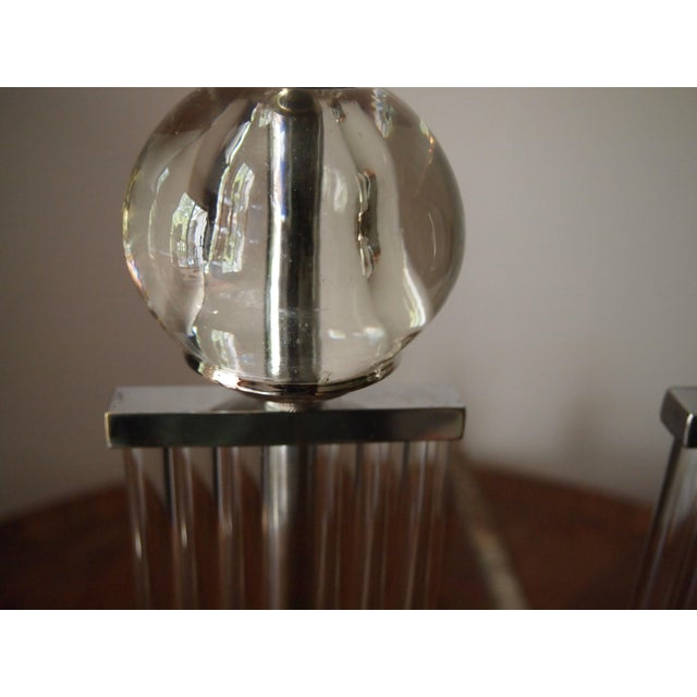 Art Deco Art Deco Chrome and Glass Column Andirons For Sale - Image 3 of 11