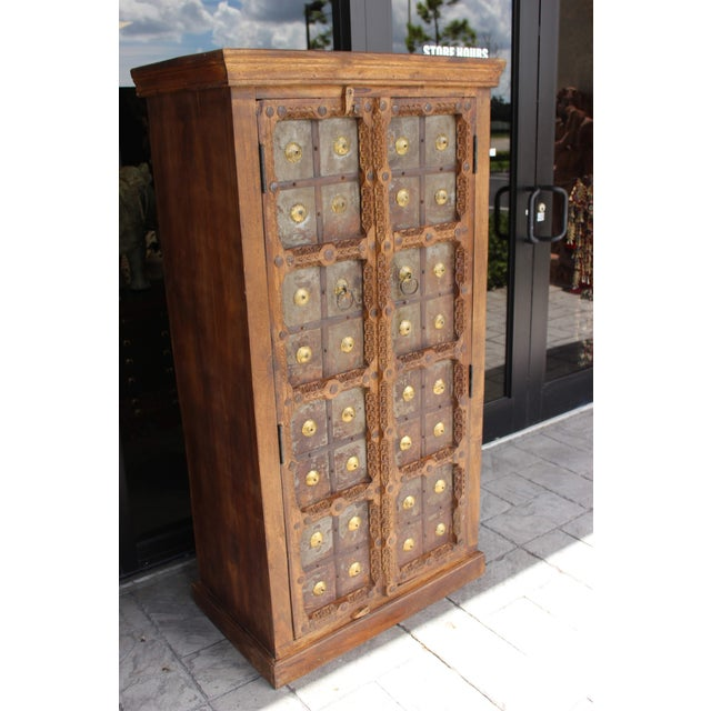 Antique Indian Solid Hand Carved Wood and Iron Clad Armoire For Sale - Image 6 of 9