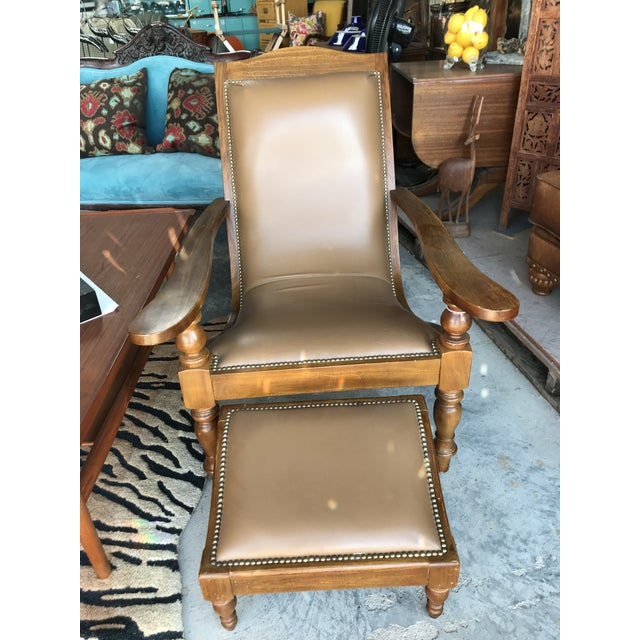 Outstanding 1980S Vintage Leather Plantation Chair And Ottoman Dailytribune Chair Design For Home Dailytribuneorg