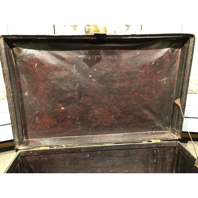 19th Century Chinese Leather Trunk For Sale - Image 12 of 13