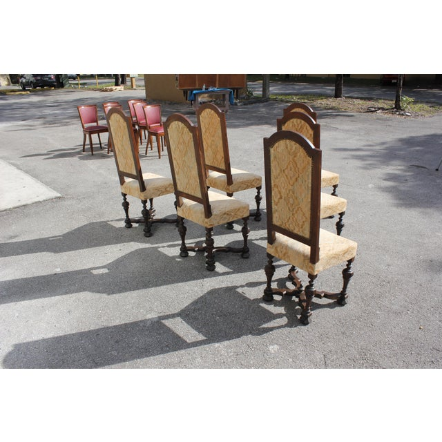 1900s Vintage French Louis XIII Style Dining Chairs - Set of 6 For Sale In Miami - Image 6 of 13