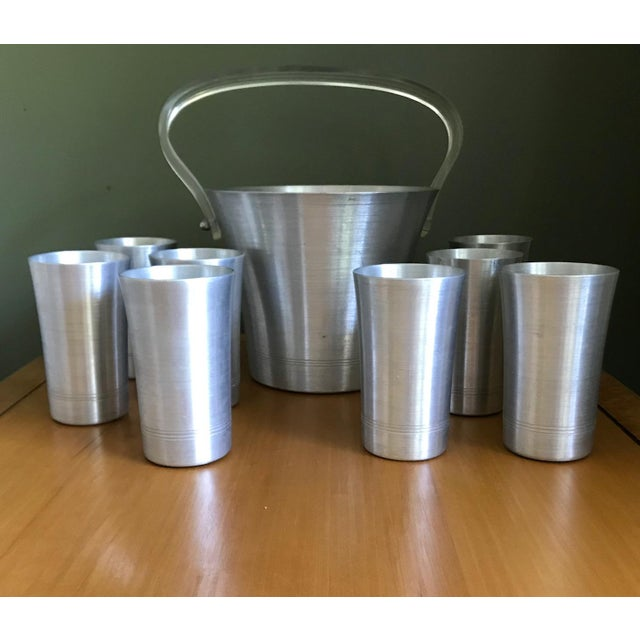 1970s Hand Turned Aluminum Ice Bucket With Lucite Handle and Matching Glasses - 9 Piece Set For Sale - Image 9 of 9