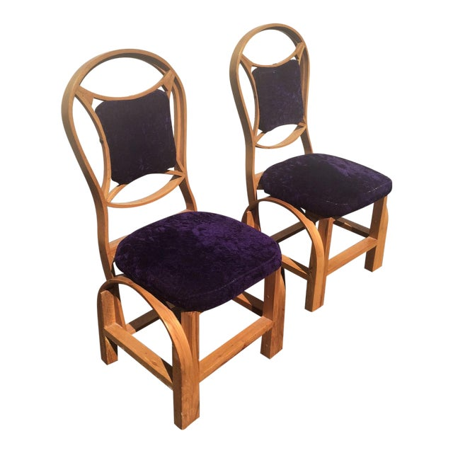 Art Nouveau Arts and Craft Danish Mid Century Art Deco Side Chairs - Set of 2 For Sale