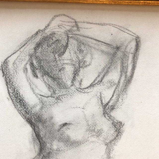 1970s Original Vintage Female Nude Charcoal Sketch For Sale - Image 5 of 7