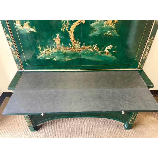 1960s Chinoiserie Green Lacquer Secretary Desk China Display Cabinet For Sale - Image 5 of 13
