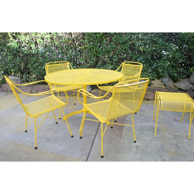 Mid Century Modern Buttercup Yellow Wrought Iron Patio Dining Set- 6 Pieces For Sale - Image 4 of 13