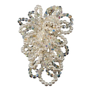 Vendome Looping Faux Pearls and Crystals Large Brooch For Sale