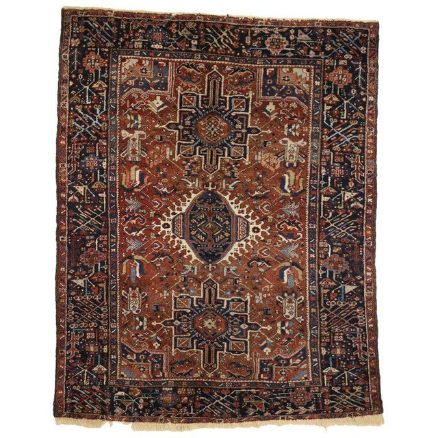 Antique Persian Heriz Rug with Medallion and Cruciform Motif For Sale - Image 4 of 4