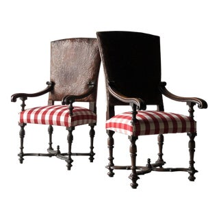 Mid 19th Century Leather Etched Spanish Chairs- A Pair For Sale