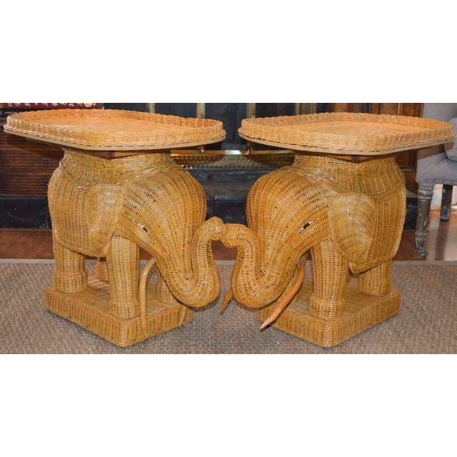 Wicker Boho Chic Wicker Rattan Elephant Tray Tables - a Pair For Sale - Image 7 of 7
