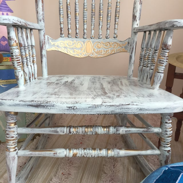 1950s Vintage Hand Painted Rocking Chair For Sale - Image 5 of 8