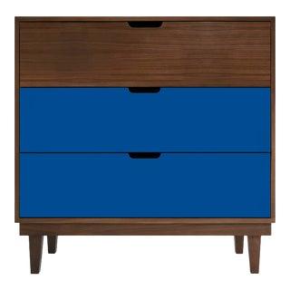 Nico & Yeye Kabano Modern Kids 3-Drawer Dresser Solid Walnut and Walnut Veneers Pacific Blue For Sale