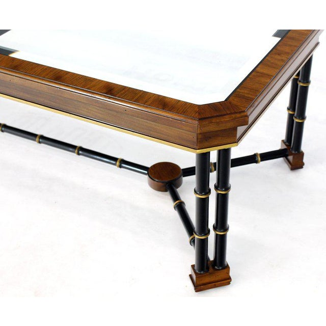 Rosewood Black Lacquer Rectangular Faux Bamboo Coffee Table Beveled Glass Top For Sale In New York - Image 6 of 11