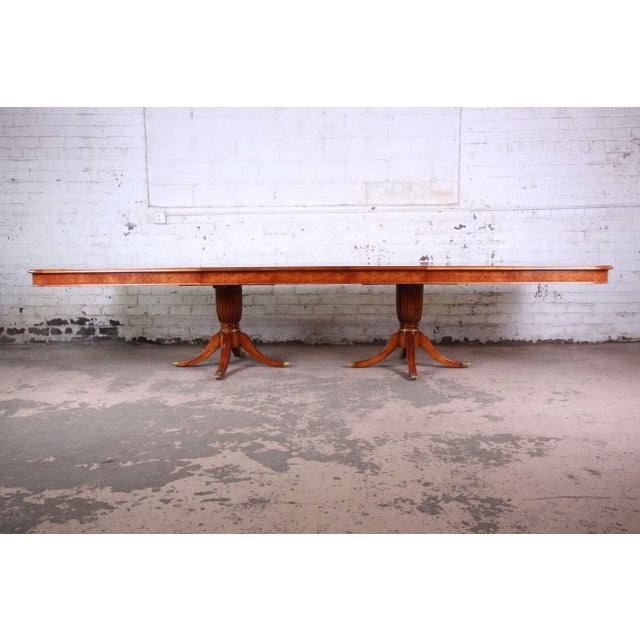 Regency Outstanding 13 Foot Burled and Inlaid Regency Style Extension Dining Table For Sale - Image 3 of 13