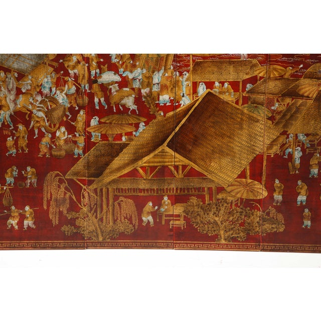 Paint Red Lacquered Chinoiserie Panels - Set of 6 For Sale - Image 7 of 13