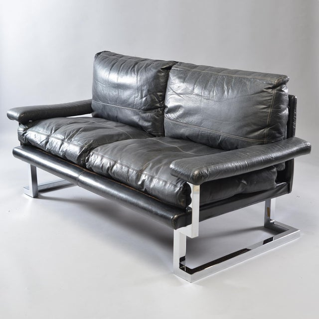 Black Leather and Chrome Sofas by Tim Bates for Pieff & Co. - a Pair For Sale - Image 4 of 13