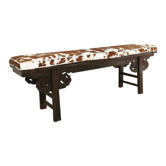 Forsyth One of a Kind Vintage Chinese Carved Bench with Custom Cowhide Cushion For Sale