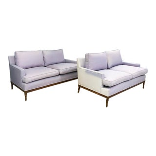 Mid-Century Faux Bamboo Small Sofas - A Pair