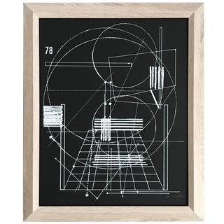 2000's Modernist Geometric Framed Silk Screen For Sale