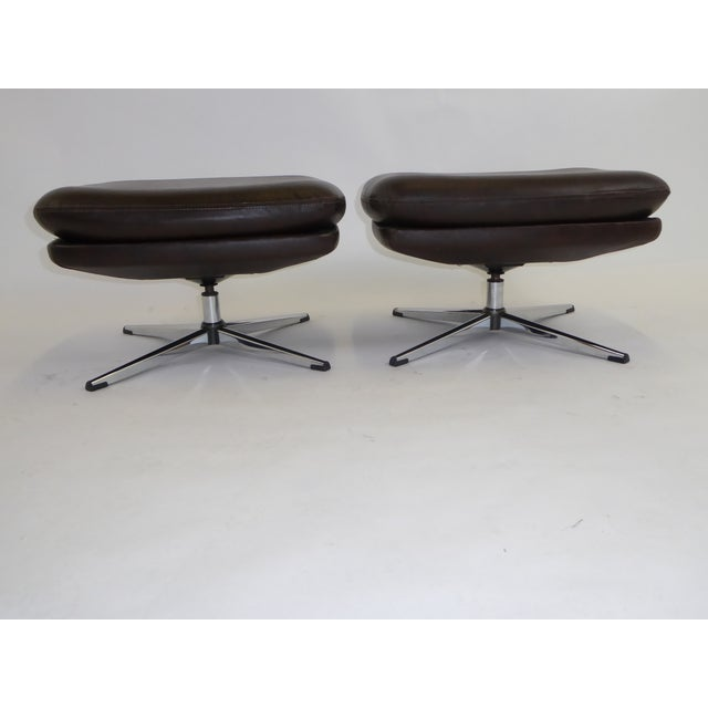 Brown 1970s Overman Swivel Foot Stools Benches in Dark Brown Leatherette- A Pair For Sale - Image 8 of 13