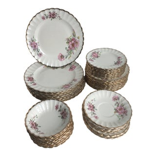 1930s American Limoges Wild Rose with 22k Gold Trim Dinnerware - Set of 40 For Sale