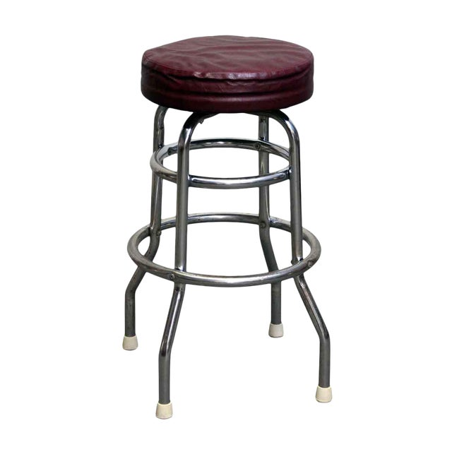 Red Leather Top Stool For Sale