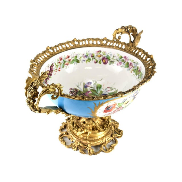Mid 19th Century 19th Century Sevres Style Porcelain & Gilt Bronze Centerpiece For Sale - Image 5 of 5