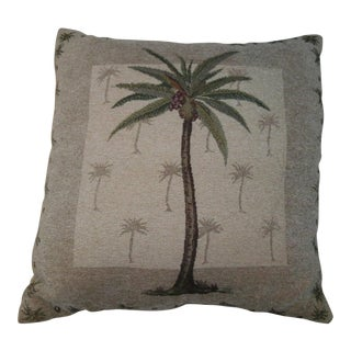 Vintage Boho Chic Coconut Palm Tree Accent Pillow For Sale