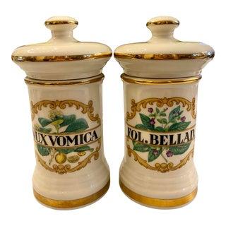 Antique Gilt Porcelain Apothecary Jars With Lids - a Pair For Sale