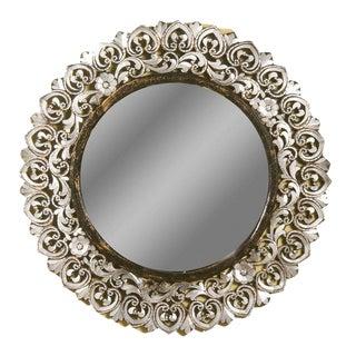 Modern Round Handcut Glass Mirror For Sale