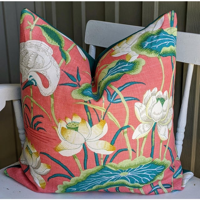 Abstract Lotus Garden by Schumacher Pillow Cover For Sale - Image 3 of 4