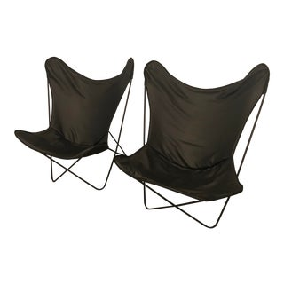 Knoll Hardoy Italian Black Leather Butterfly Chairs - a Pair For Sale