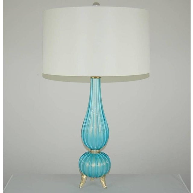 Murano Glass Three Footed Table Lamps Blue Gold For Sale In Little Rock - Image 6 of 10