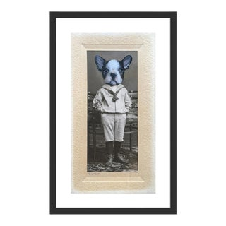 French Bulldog by Anja Wuelfing in Black Frame, Small Art Print For Sale
