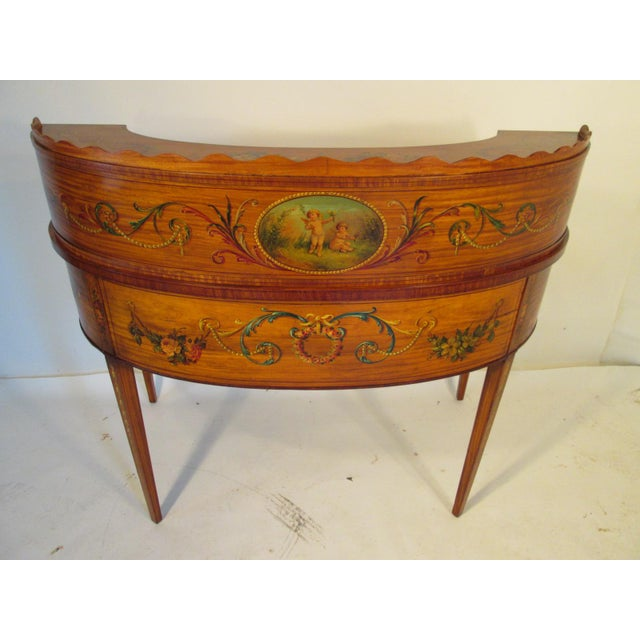 French Antique Satinwood Painted Carlton Desk - Image 5 of 10