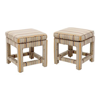 Pair of Upholstered Square Billy Baldwin Benches For Sale